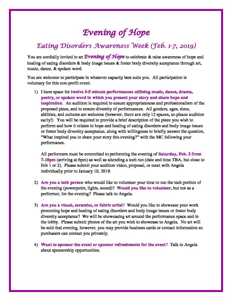 Evening of Hope - Eating Disorder Network of Alberta
